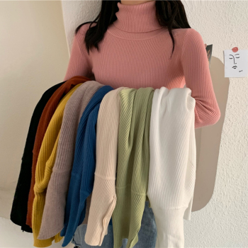 Autumn Winter Thick Sweater Women Knitted Pullover Ribbed Sweater Long Sleeve Turtleneck Slim Warm Soft Pull Femme Jumper 2020 turtleneck ribbed pullover sweater
