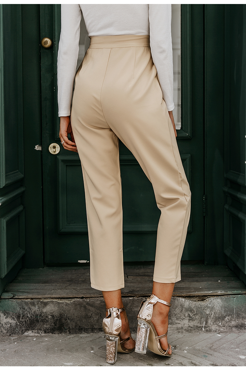 Simplee Solid casual harem pants female trousers High waist office ladies blazer suit pants Loose Ankle-length women pants 19 5