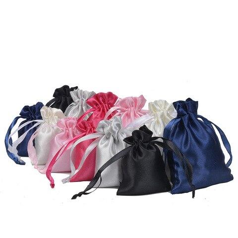 Bolsas de Cabelo Extensões de Cabelo Bolsas de Presente Cetim Algodão Cordão Bolsa Pacote Atacado Cosméticos Jóias Embalagem Bolsas 9*12cm