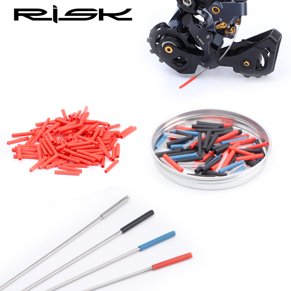 RISK 40pcs Heat Shrink Bicycle Inner Cable Cap Brake Shifter Cable Tip Wire End Cap Crimp Bike Derailleur Shift Wire Ferrules