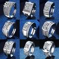 YWSHK Роскошные блестящие серебряные мужские кольца белый циркон полный естественный белый кристалл CZ кольцо для мужчин обручальное кольцо в...