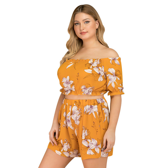 2019 new summer plus size sets for women large short sleeve loose off Shoulder jumpsuits tops and shorts yellow 4XL 5XL 6XL 7XL 1