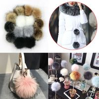 14pcs 10cm Faux Artificial Fur Pom Pom Ball with Elastic Band for DIY Knitting Hat Bag Scarf Accessories