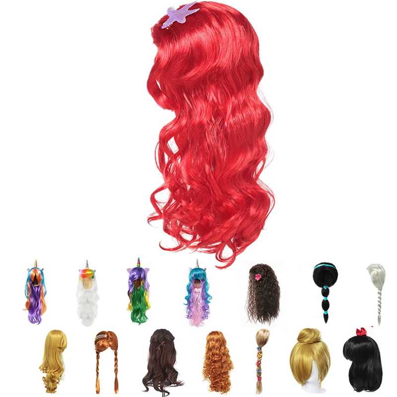 Girls Little Mermaid Red Wig Kids Princess Elsa Anna Aurora Cosplay Rapunzel Braid Jasmine Moana Unicorn Hair For Party