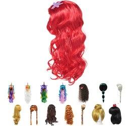 Girls Little Mermaid Red Wig Kids Princess Elsa Anna Cosplay Long Hair Braid Aladdine Moana Unicorn Hair For Party