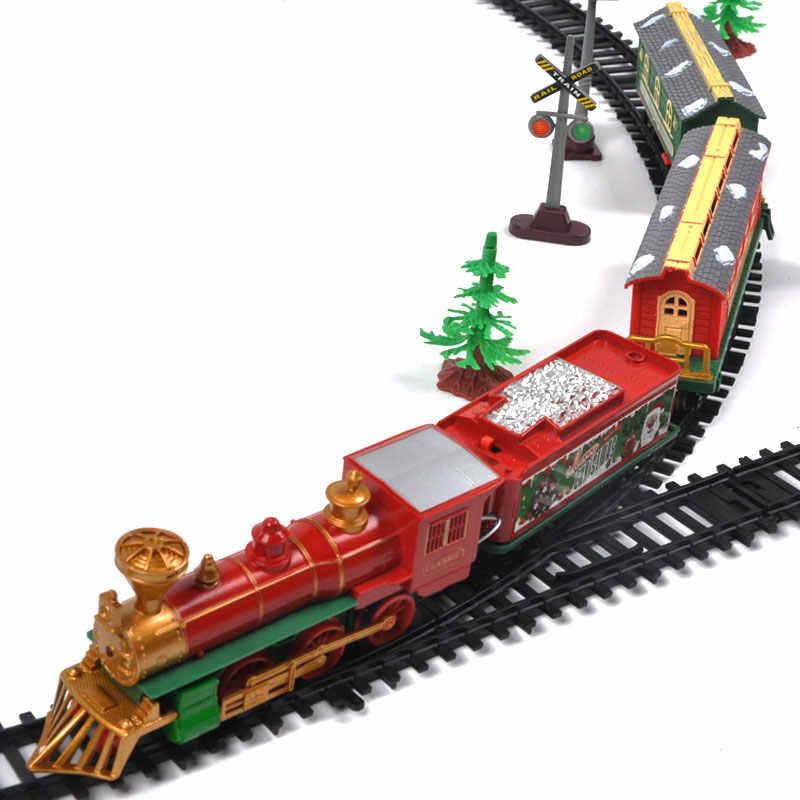 Rc 전기 기차 크리스마스 장난감 모델 기차 철도 세트 원격 제어 기차 장난감 전기 크리스마스 기차 어린이 선물