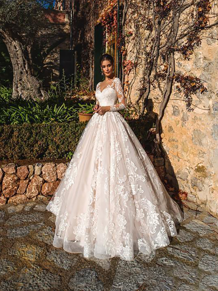 Wedding-Dresses Bridal-Gowns A-Line Long-Sleeves Plus-Size Lace Appliques Luxury V-Neck