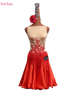 Latin Dance Competition Dress Adult Customize Children Costumes Embroidered red Fishbone Skirt Latin Dress