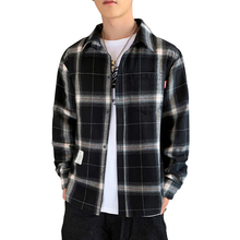 2019 Autumn port winds ins men long sleeve plaid shirt Korean version of the trend handsome coat casual couple Cotton 50CS
