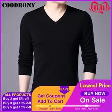 COODRONY Mens Sweaters Cashmere Cotton Sweater Men Pure Color Knitwear Pull Homme Classic Casual V Neck Wool Pullover Men 91009