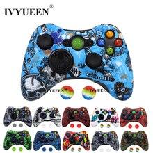IVYUEEN Microsoft Xbox 360 컨트롤러 용 20 색 보호 실리콘 케이스 엄지 손가락 그립 커버가있는 물 전송 인쇄 스킨