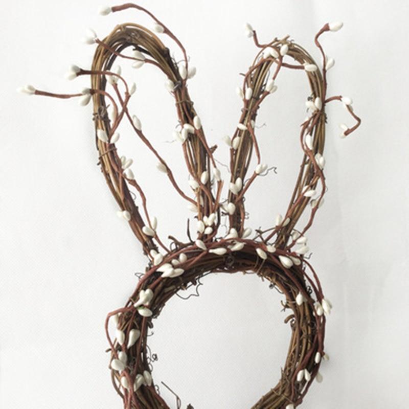 With Light Handmade Rattan Bunny Rabbit Garland Wreath Pendant Christmas Easter Door Hanging Garland Holiday Home Decorations