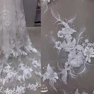 Image 5 - Luxury \ Hand applied 3D flower Embroidery French Mesh African Lace Fabric High end Dress, Wedding Dress, Evening Dress Design