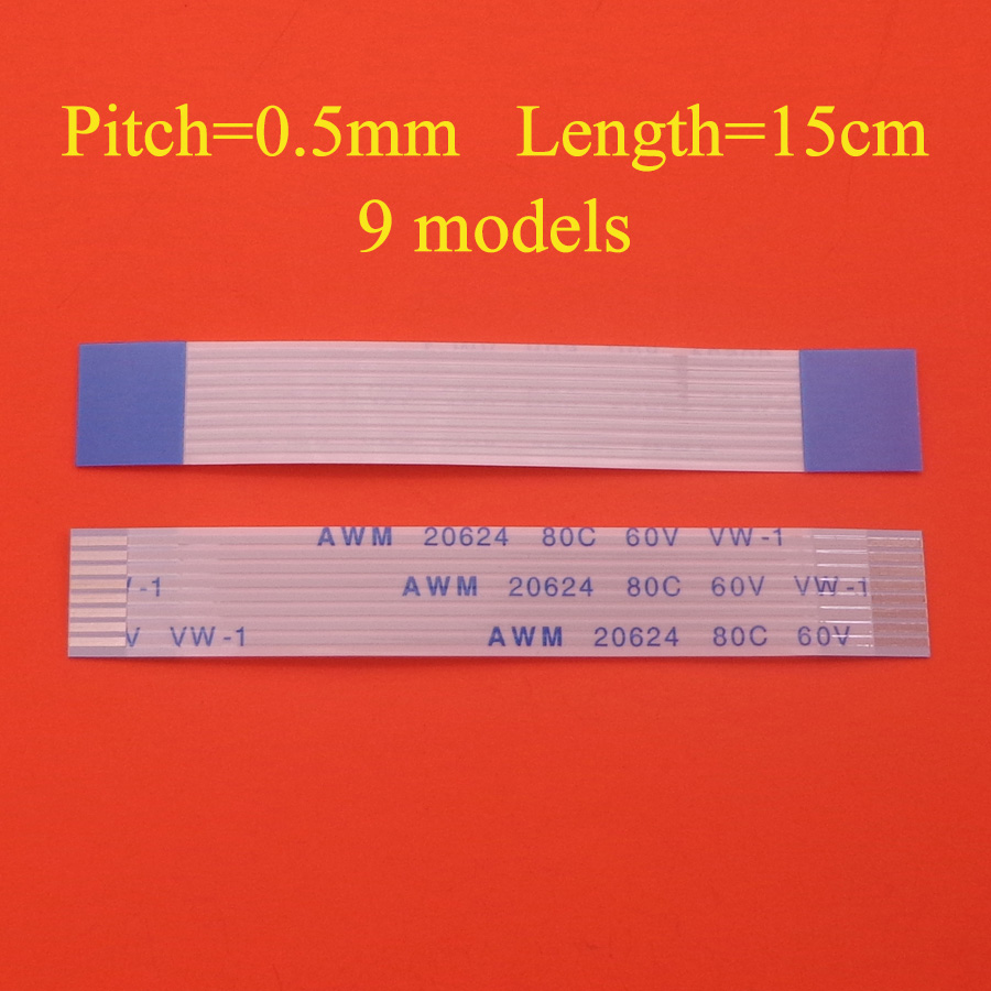 2pcs FFC/FPC Flat Flex Cable 5pin 6pin 9pin 10pin 12pin 14pin 16pin 30pin 45pin Same Side 0.5mm Pitch  Length 15cm