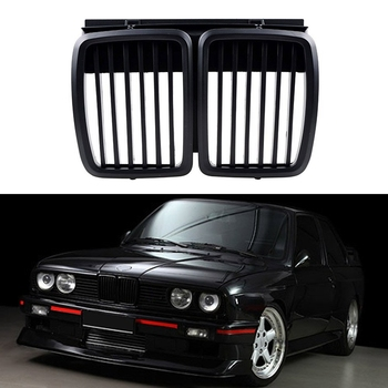 Front Grille Replacement for BMW E30 3-Series M3 Front Hood Bumper Grill Matte Black 1982-1994 image