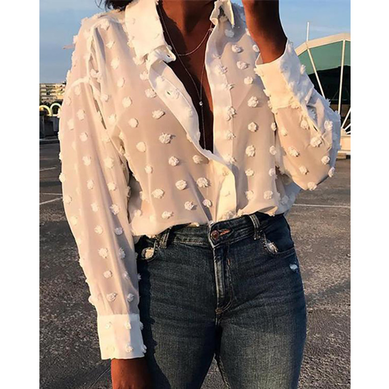 Meihuida 2019 Fashion Womens Long Sleeve White <font><b>Blue</b></font> Plain Chiffon Blouses <font><b>Shirts</b></font> Summer Casual Blusas Mujer Camisas image