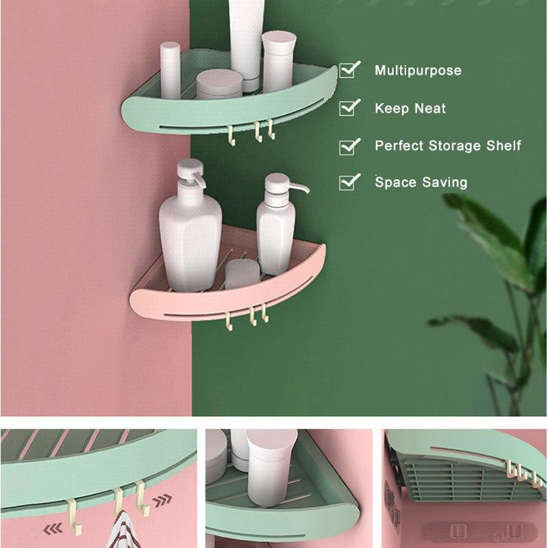 Kitchen Bathroom Shower Triangular Corner Caddy Rack Wall Shelf Organizer Holder