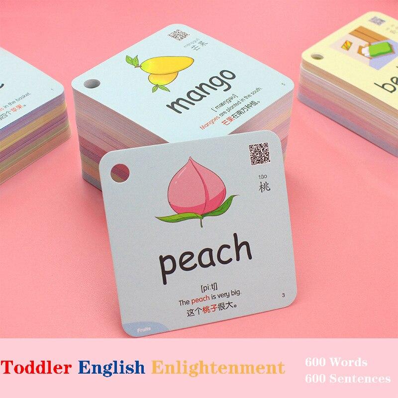 600 слов 20 категорий познавательная обучающая карта в форме животных цвета Монтессори Обучающие китайские английские флеш-карты для детей