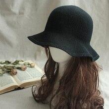 Новая однотонная овечья шерсть шапка вязаная шляпа с полями Fedora зимняя женская модная зимняя шапка аксессуары