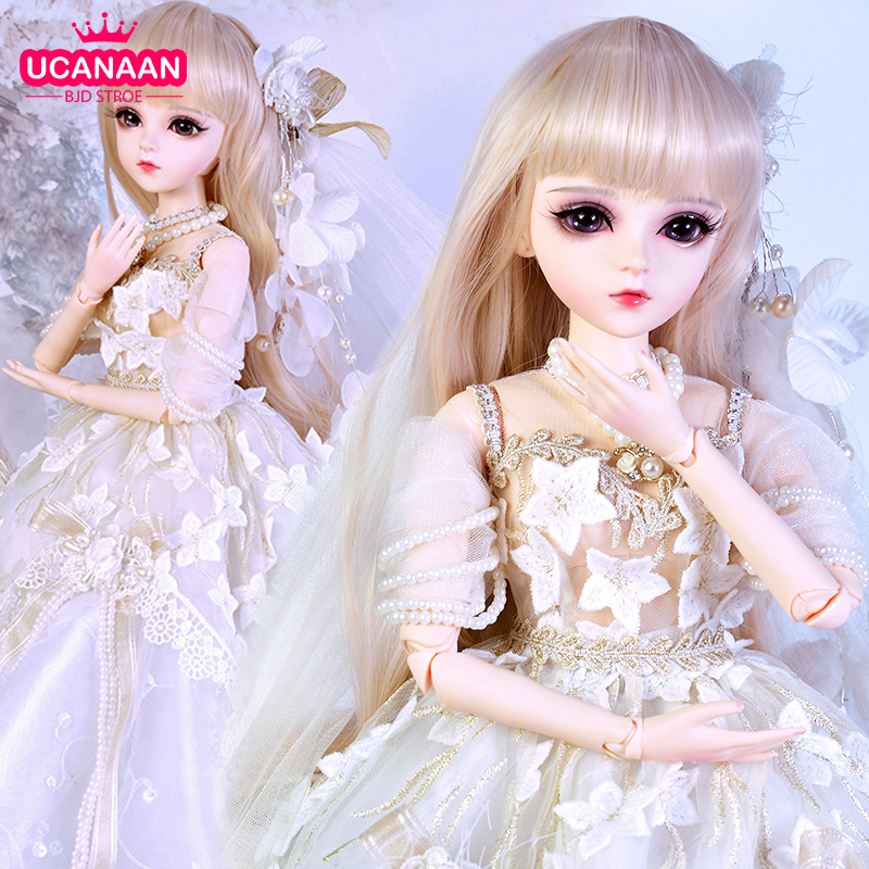 UCanaan 1/3 BJD Doll 60CM 18 Ball Jointed Dolls With Outfits Palace Maxi Dress Wig Shoes Makeup Toys Gifts For Girls Collection