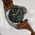 Reloj de cuero negro plateado de acero inoxidable de zafiro mecánico automático de marca de lujo para hombre, relojes luminosos de reserva de energía
