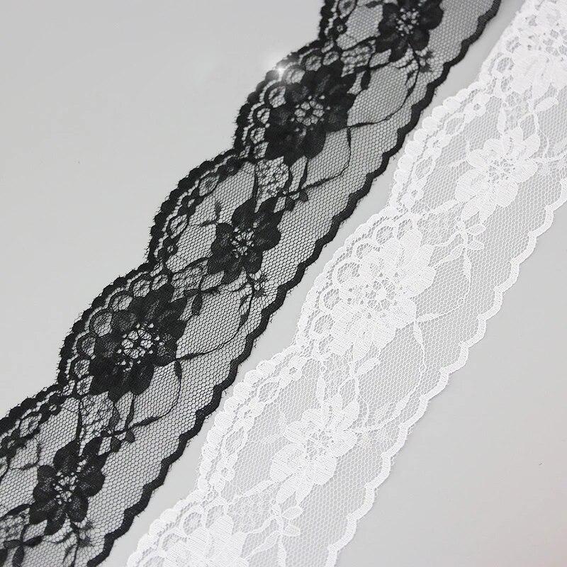 (10 yards/rulo) 65mm beyaz ve siyah dantel kumaş dokuma dekorasyon güzel hediye ambalaj malzemesi