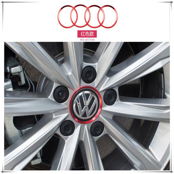 Car styling wheel hub decorative ring stickers For Volkswagen VW Scirocco 3rd Sharan 1 2 Touran 1 2 Up! Polo 5 6 Car Accessories image