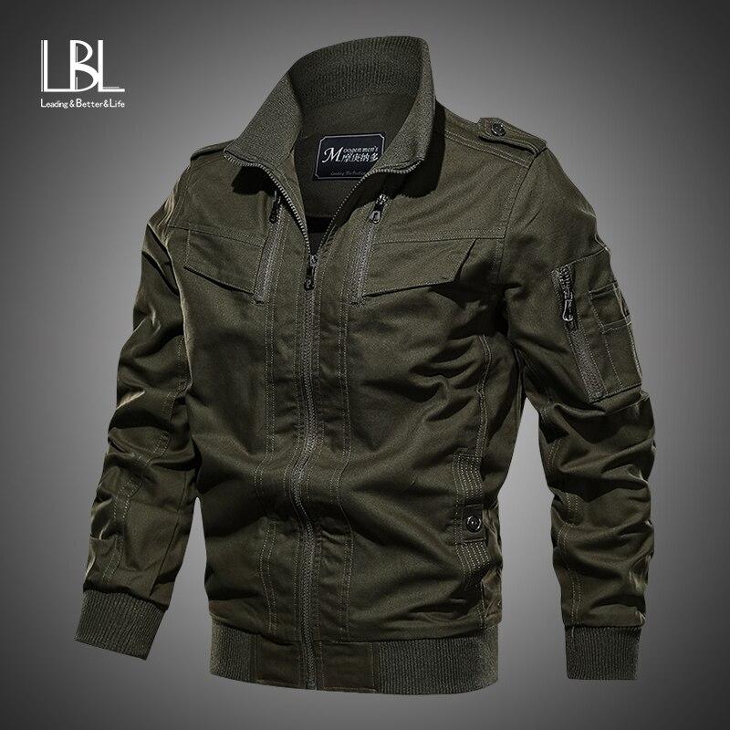 2019 Military Jacket Men Spring Autumn Cotton Pilot Jacket Zipper Coat Army Men's Bomber Jackets Cargo Flight Jacket Male 6XL