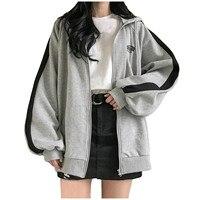Sudaderas con cremallera de bloque de Color para mujer, suéter de estilo coreano japonés con cremallera de gran tamaño, abrigo gótico, chaquetas de amigos, chándal