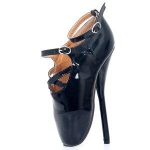 Image 2 - Туфли женские на шпильке, пикантные туфли на высоком каблуке 7 дюймов, с острым носком, ремешком на щиколотке, черные, красные танцевальные туфли
