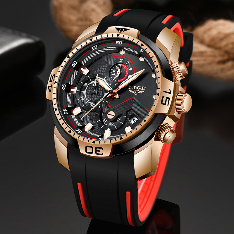 2020 LIGE Sport Watch Men Top Brand Luxury Chronograph Silicone Strap Quartz Mens Watches Waterproof Clock Relogio Masculino+Box 1