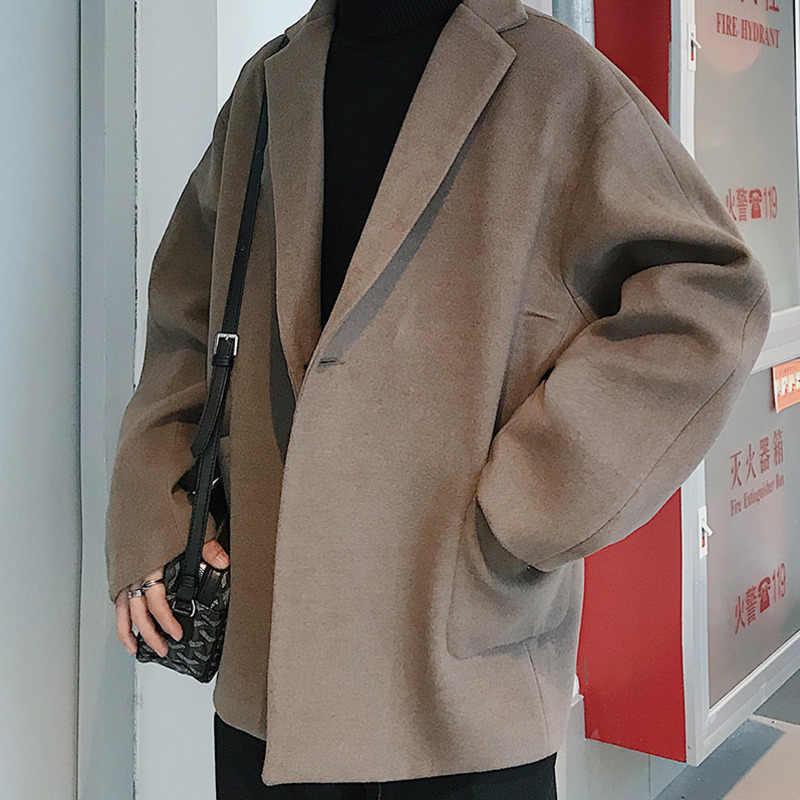 Pendek Musim Dingin Wol Mantel Pria Warna Solid Kasual V-neck Wol Jas Pria Streetwear Liar Baju Jaket Pria s-2XL