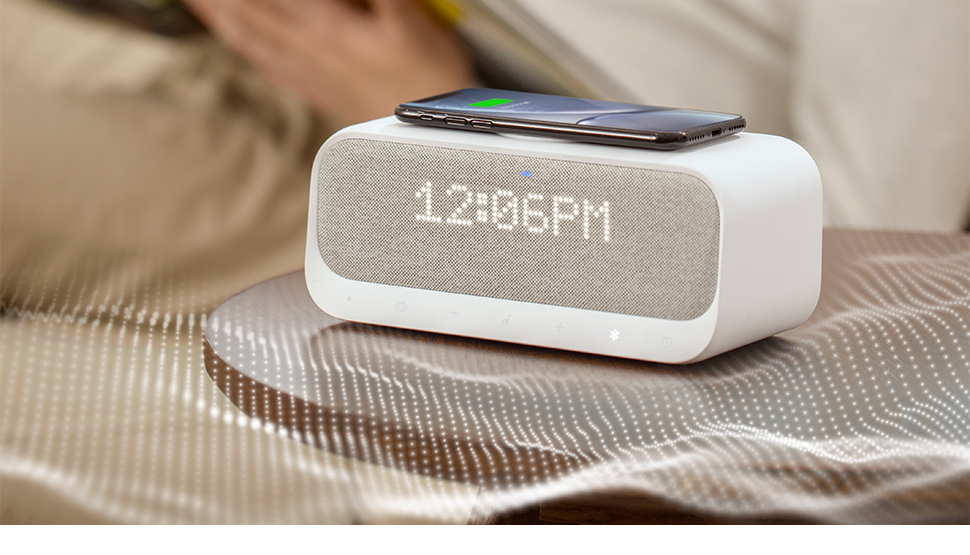 Bluetooth Speakers Powered by Anker with Alarm Clock, Stereo Sound, FM Radio, White Noise