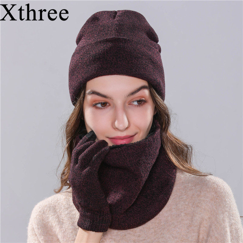 Xthree 2019 Winter Hat Scarf Glove Set For Girl Women's Hat Knitted Hat Beanie Bonnet Skullies Beanies Cheap Winter Cap