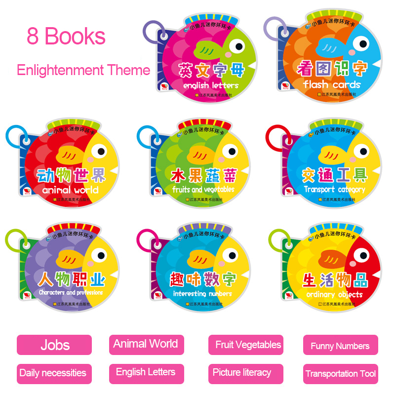 Children Early Education Learning Cards Fruit Vegetable Animal Book With Chinese Pinyin English Pictures Card Kid Literacy Game