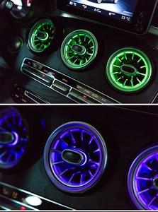 Image 5 - LED טורבינת אוויר vent רכב מיזוג אוויר vent קישוט סביבה אור מנורת עבור בנץ/C /E/ GLC/ CLA כיתת W205 W213 X253 W117