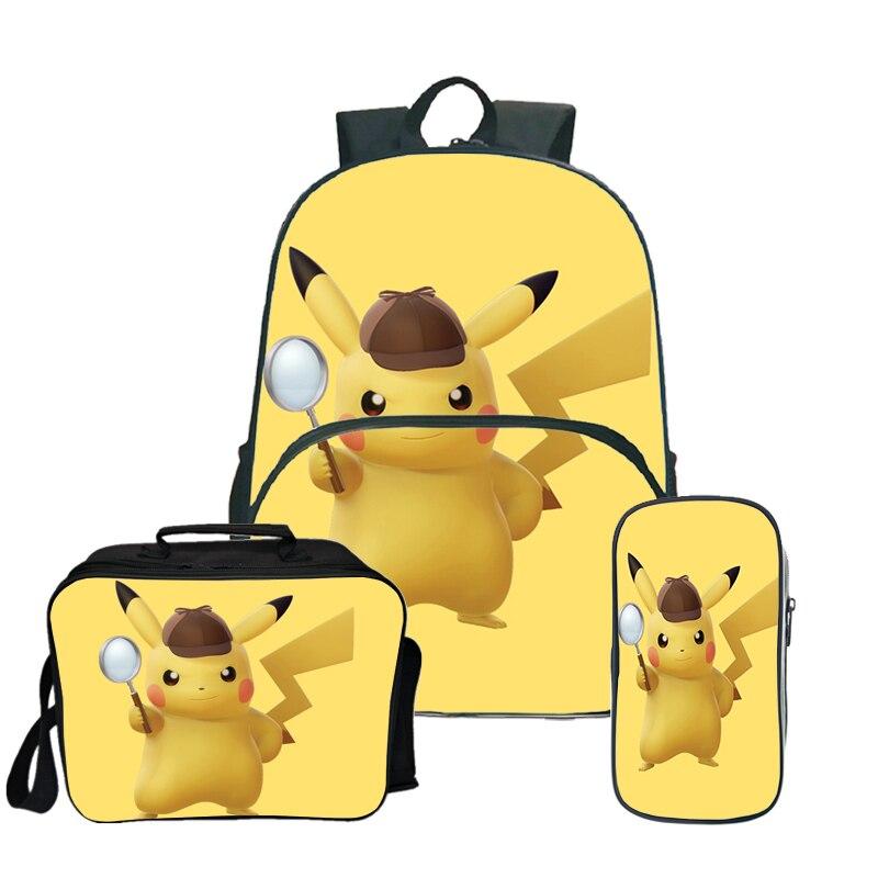 3Pcs Set Pokemon Detective Pikachu School Bag Backpack+Pencil Case+Lunch Bag Box