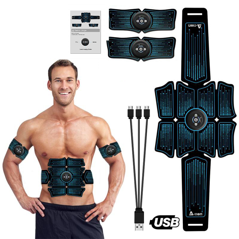 ABS EMS Muscle Stimulator Vibration Massage Body Slimming Belt Hip Trainer Toner Electrostimulation Home Gym Fitness Equipment image
