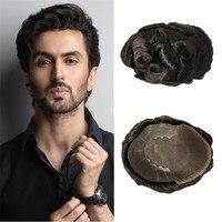 BYMC человеческие волосы прочные шиньоны кружева тонкие ПУ заменить мужчин t система для мужчин Toupees человеческие волосы прочные шиньоны круж...
