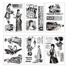 Женские прозрачные резиновые штампы в стиле ретро для скрапбукинга