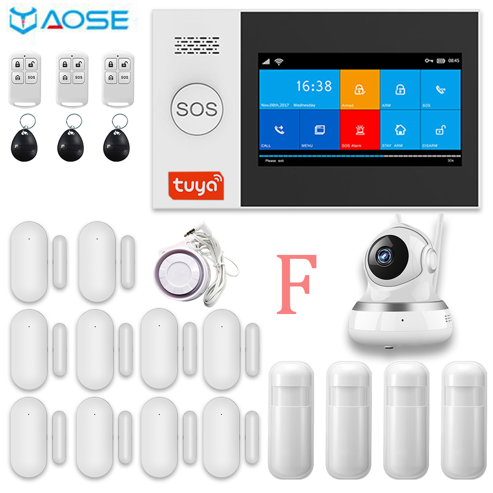 YAOSE TUYA  433MHZ GSM Home  Burgal Alarm System App Remote Control RFID Card Arm And Disarm With Camera Kits