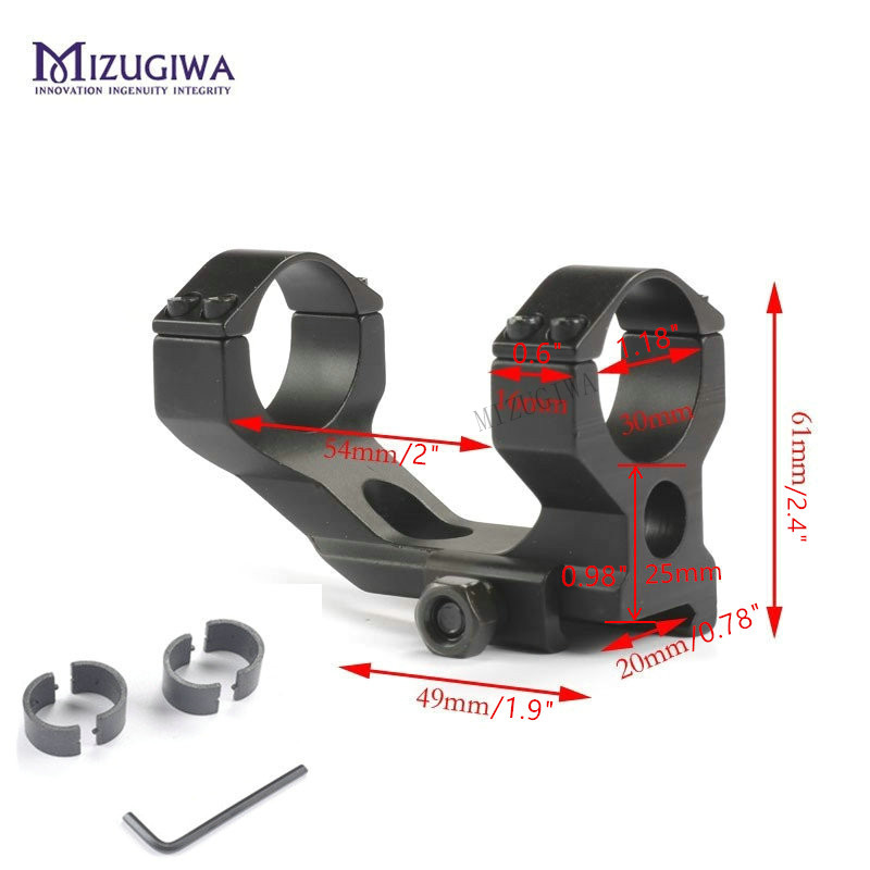 MIZUGIWA Tactical Scope Mount Heavy Duty Cantilever Dia 30mm Ring 20mm Picatinny Rail Weaver Mount Rifle Hunting Accessories