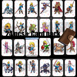 24PCS NTAG215 Game NFC Cards New 4 Hero Data Tag 20 heart Wolf Link For NFC Tag Zelda Breath Of The wild NS Switch