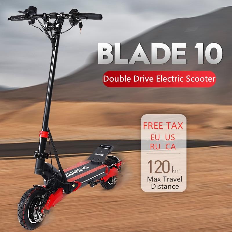 Blade e10 Scooter électrique intelligent 10 pouces 52V 1000/2000W tout-terrain pliable 65 km/h vitesse Max double moteur Skateboard Support 2 chargeur