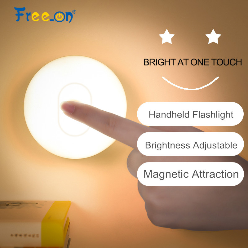 Magnetic Base Round Circle Touch Night Light Flashlight Led Indoor Outdoor Decor Corridor Lamp Bedroom Nonpolar Dimming