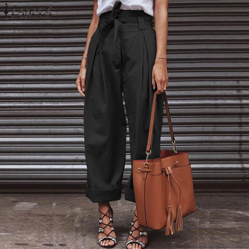 New High Waist Paper Bag   Pants   ZANZEA 2019 Autumn Women   Wide     Leg     Pants   with Belt Cotton Linen Zipper Up Long Trousers Streetwear