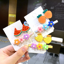 2 Pcs/Set Fresh Flower Hairpin Cute Candy Color Fruit Hair Clip Side Word Young Girl Bangs Headdress