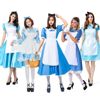 Umorden Womens Wonderland Alice Costume Maid Lolita Cosplay Dress Blue Halloween Carnival Party Mardi Gras Costumes umorden toddler girls white spooky ghost costume elf fairy costumes for kids child halloween purim party mardi gras fancy dress