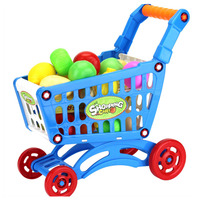 Children's Baby Pretend Play Toys Simulation Mini Supermarket Shopping Cart Trolley with Fruits Vegetables Simulator Toys Set