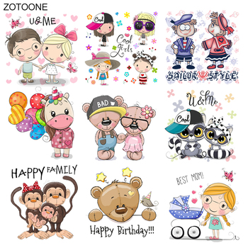 ZOTOONE Iron on Animal Monkey Bear Patch Boy Girl Stickers Patches for Clothing T-shirt Heat Transfer Diy Accessory Appliques G zotoone rose patches iron on blooming flower stickers for clothing heat transfers diy plants patch for kids washable appliques d